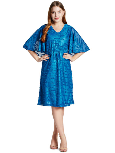 Women's Fashionable Knee Length Dress in Peacock Blue