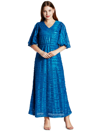 Women's Fashionable Long Dress in Peacock Blue