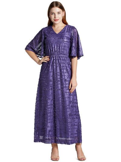 Women's Fashionable Long Dress in Purple