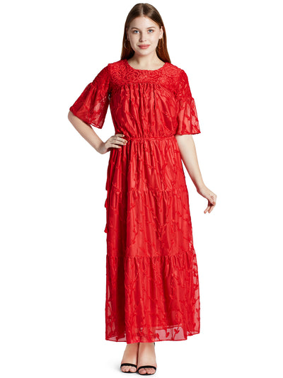 Women's Floral Maxi Dress in Red