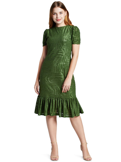Women's Gathered Knee Length Dress in Olive Green