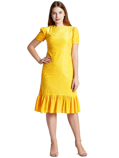 Women's Gathered Knee Length Dress in Yellow