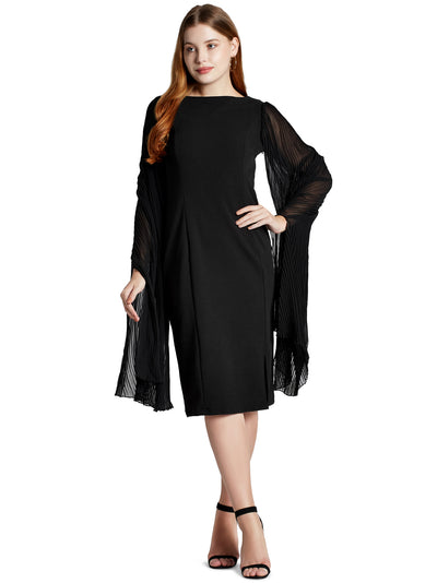 Women's Knee Length Dress in Black with Designer Pleated Sleeves