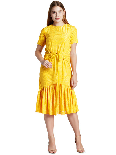 Women's Knee Length Dress in Yellow with Waist Tie-up