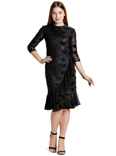 Women's Knee Length Ruffle Dress in Black