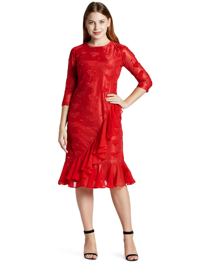 Women's Knee Length Ruffle Dress in Red