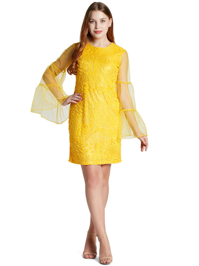 Women's Long Sleeve Mini Dress in Yellow