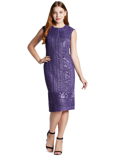 Women's Sleeveless Knee Length Dress in Purple