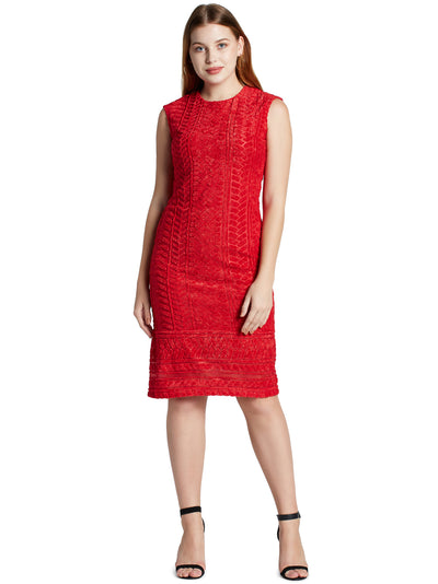 Women's Sleeveless Knee Length Dress in Red