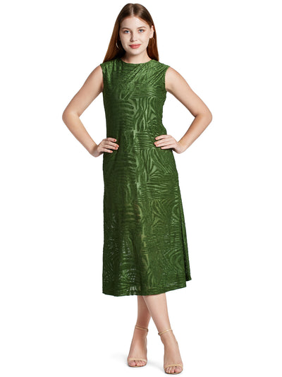 Women's Sleeveless Midi Dress in Olive Green
