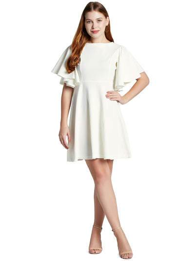 Women's Stretchy A Line Swing Flared Skater Cocktail Party Dress in White