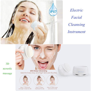 Electric face washing machine cleaning brush pore blackhead cleaner 3D acoustic wave massage cleanser makeup remover
