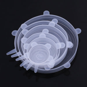 WORTHBUY 6 Pcs/Set Food Silicone Cover Cap Universal Silicone Lids For Cookware Bowl Reusable Stretch Lids Kitchen Accessories