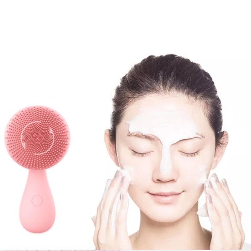 CE Certificatio Skin Care Tool Massage Silicone Face Cleaner Electric Vibrator Face Cleansing Brush Facial Beauty Instrument