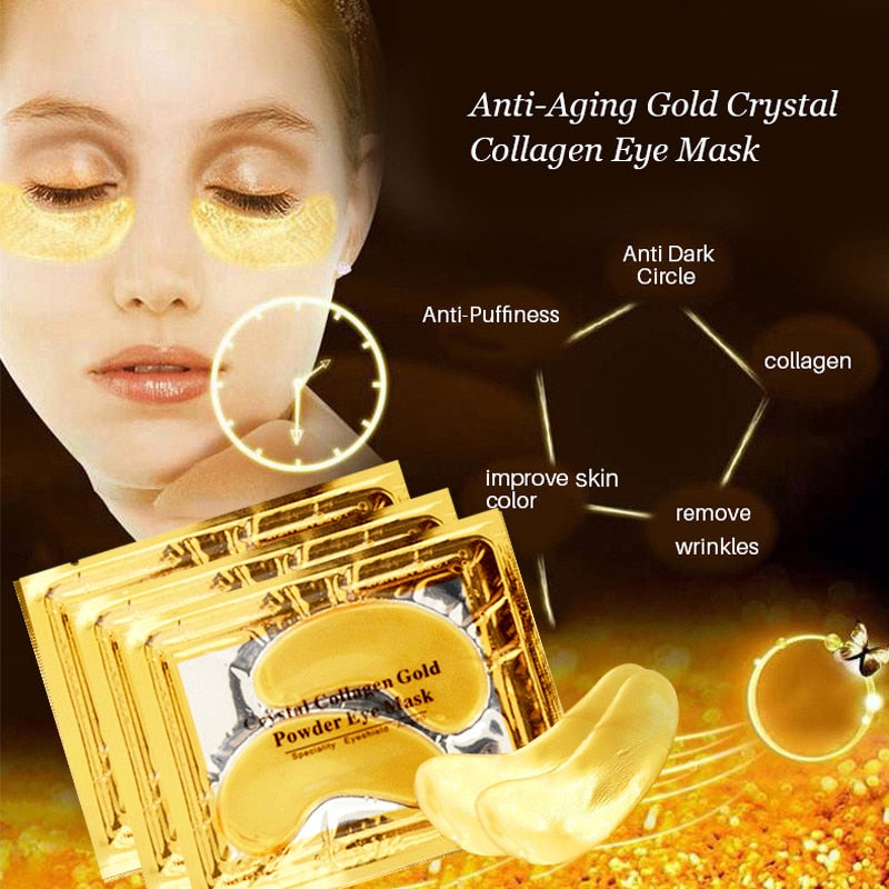 InniCare 20Pcs Crystal Collagen Gold Eye Mask Anti-Aging Dark Circles Acne Beauty Patches For Eye Skin Care Korean Cosmetics