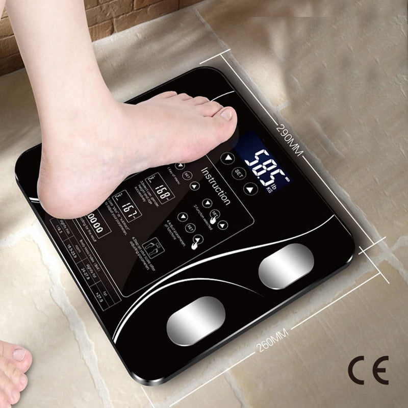 CE Certification USB charging Sakura Smart Household Weighing Scale Fat Scale LED Digital English Function Screen USB charging