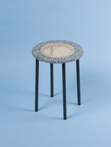 Black & white terrazzo rattan side table