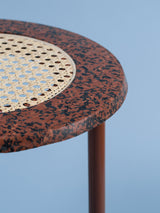 Brown & black marble rattan side table