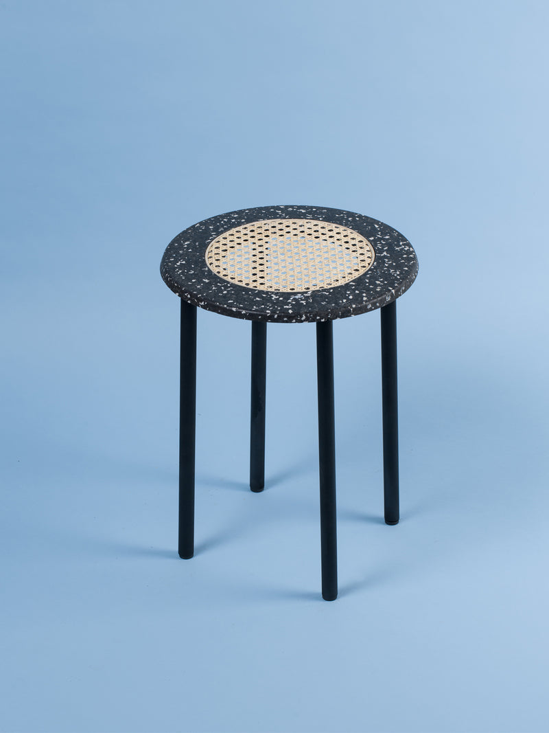 Black & grey terrazzo rattan side table