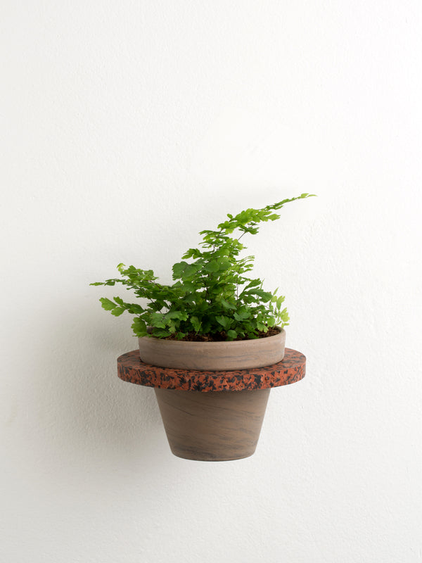 Brown & black marble plant holder
