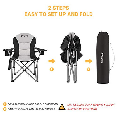 KingCamp Camping Chair with Lumbar Back Support | Padded Folding Chair with Cup Holder