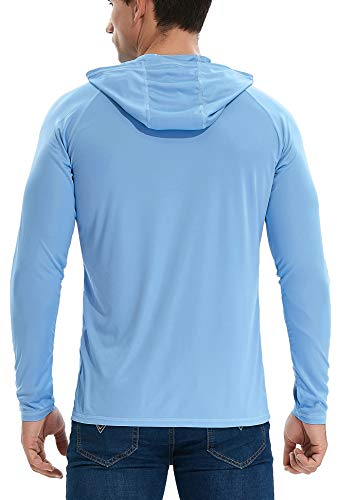 TELALEO Men's Long Sleeve Hoodie | Dri Fit UV Protection Fishing Shirt with Thumb Hole