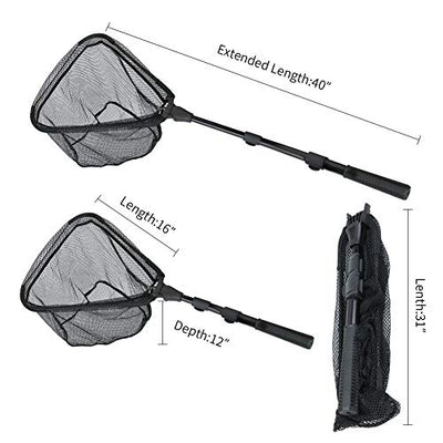 Fishing Landing Net with Handle | Fishing Net with Non-Slip Telescopic Handle