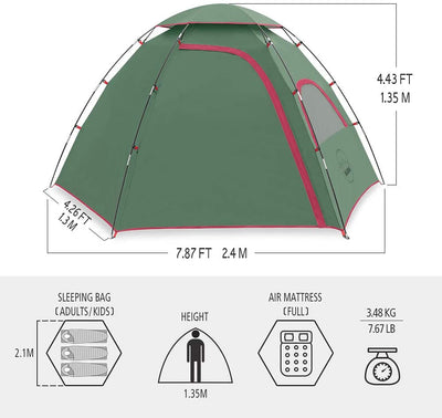 KAZOO Mercury 2-Person Family Camping Tent | Easy Setup & Weatherproof Tent