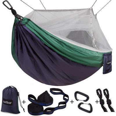 SunYear Single & Double Camping Hammock | Nylon Hammock with Mosquito Net