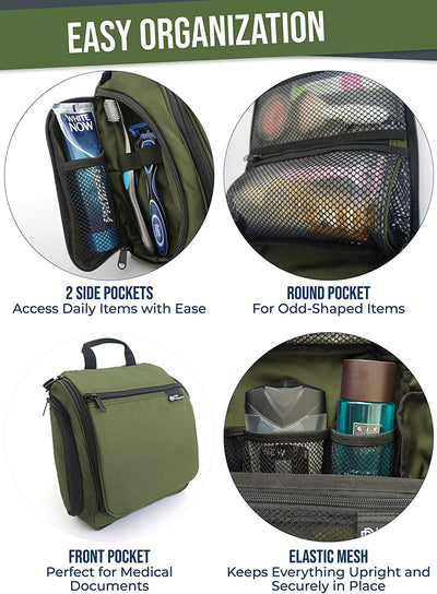 D&D Hanging Travel Toiletry Bag | Large Nylon Toiletries Organizer Kit with 19 Compartments