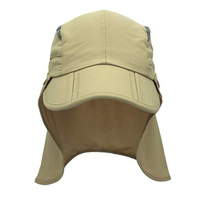 LLmoway Safari Fishing Sun Cap with Removable Neck Flap | Quick-Dry Full UV Protection Cap