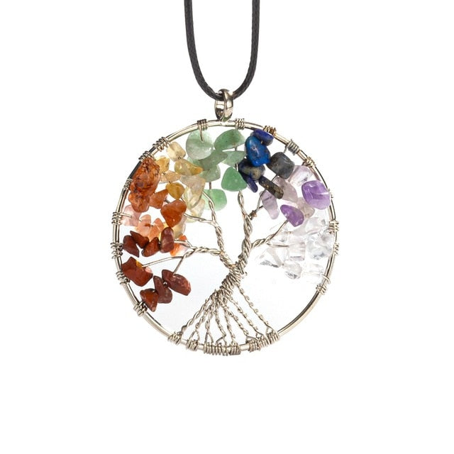7 Chakra Stones Natural Stone Quartz Tree of Life Pendant