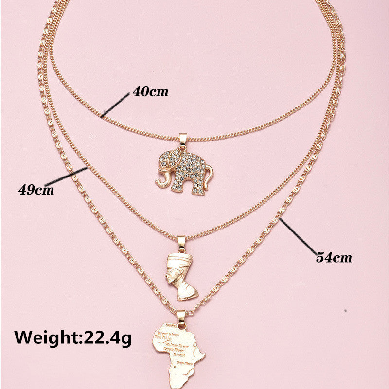 3 Pcs/Set Vintage Crystal Multilayer Gold Necklace