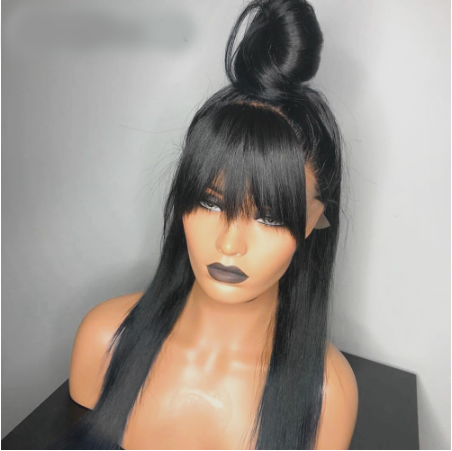 Bang Wig Human Hair Straight Pre Plucked Wig With Baby Hair Wig With Bangs Preplucked Lace Wig Remy