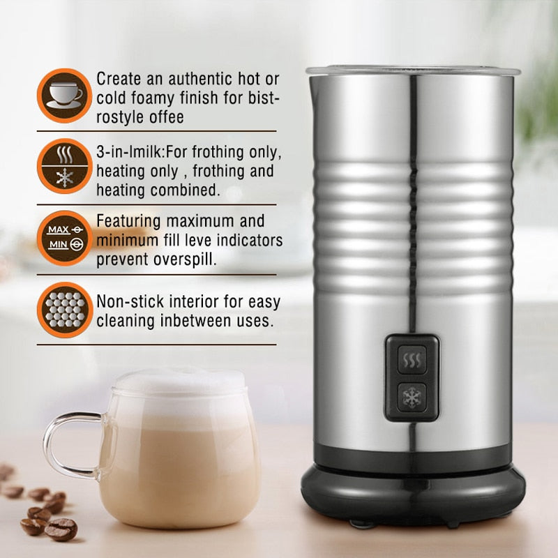 HiBREW Milk Frother Foarmer Cold/Hot Latte Cappuccino Chocolate fully automatic Milk Warmer double wall Stainless steel H5