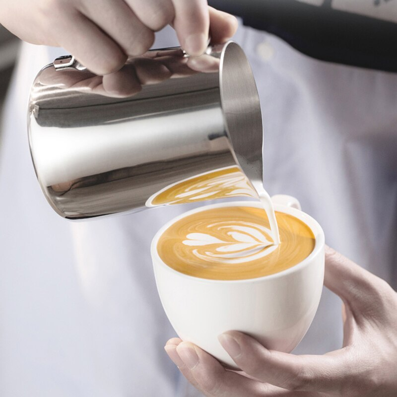Hibrew Stainless Steel Frothing Coffee Pitcher Pull Flower Cup Cappuccino Milk Pot Espresso Latte Art Milk Frother Frothing Jug