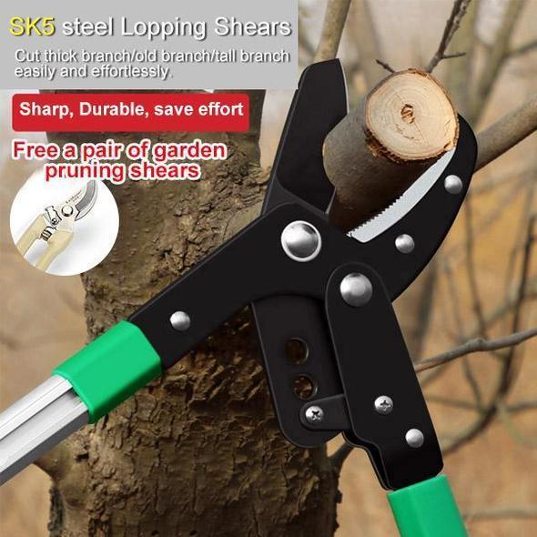 Olecranon Gear type Telescopic Lopping Shears, made by SK5 High Carbon Steel, Germany Technology, Super Smooth Cut Garden Pruner Shear