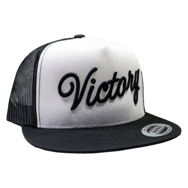 VCTY VICTORY SCRIPT TRUCKER HAT - Black/White