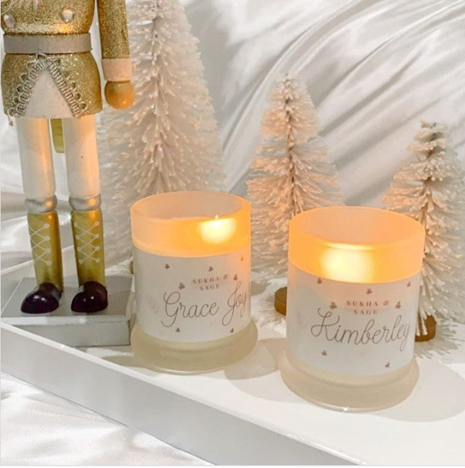 Personalised label & Customisable Crystal infused Candle