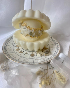 Limited Edition Enchanted Pearl Candle Infused with Rainbow Moonstone