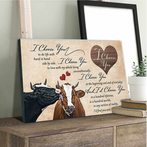 "Valentine gift - MP0102 - I choose you cow couple - Framed Matte Canvas (1.25"")"