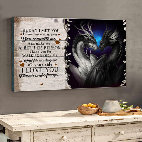 "Valentine gift - MP2601 - To my love - Dragon walking beside me - Framed Matte Canvas (1.25"")"