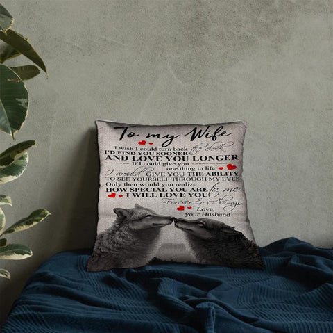 Valentine gift - DN2701 - I Love You Longer - Linen pillow