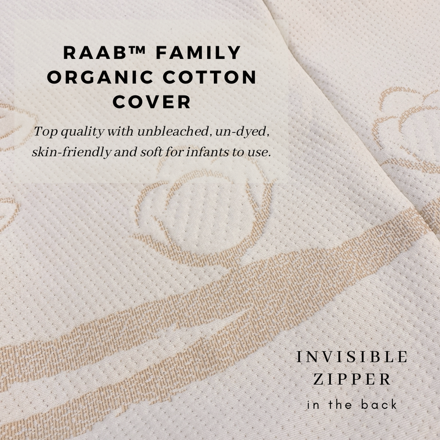 RaaB™ Family Organic Cotton Cover Hypoallergenic, Breathable, Anti Dust mite, Antibacterial