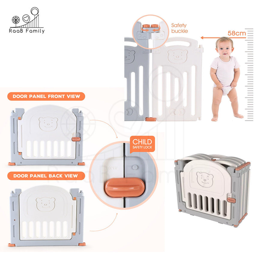 RaaB™ Family Baby Playpen Kids Playard Play Fence Safety Gate Premium Non Toxic Material