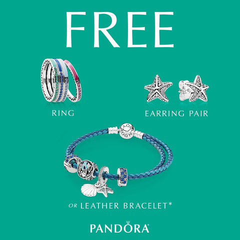 37dede888 favorite PANDORA styles July 6th through July16th, you will receive a FREE  ring, earring pair or leather bracelet up to $75 value.* [See store for  details.]