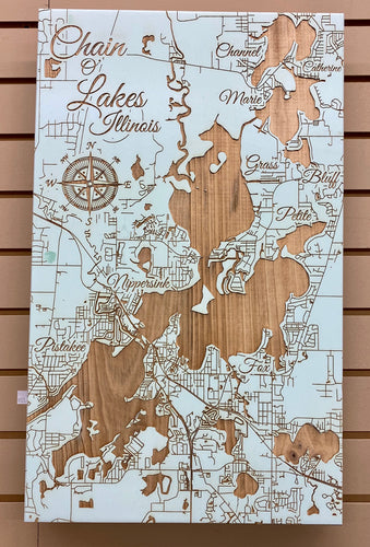 Chain O' Lake Illinois Custom Map in Seaglass