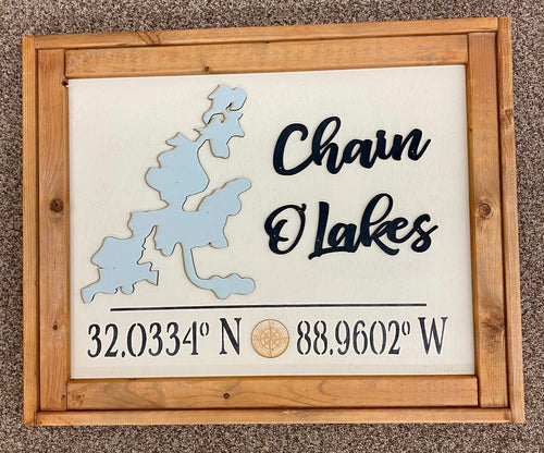 Framed Chain O' Lakes Lake Sign 25 x 20