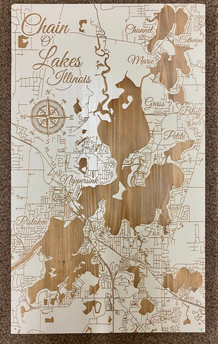 Chain O' Lake Illinois Custom Map in Papier Blanc 22.5 x 38