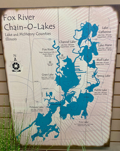 23 x 31 Chain O' Lakes Fox River Sign